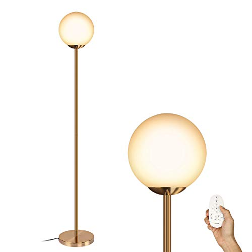 Oneach Modern Dimmable LED Remote Controlled Globe Floor Lamp with Frosted White Glass Globe Shade,Bulb Include Antique Brass, Lamps for Reading Living Room Bedroom ()