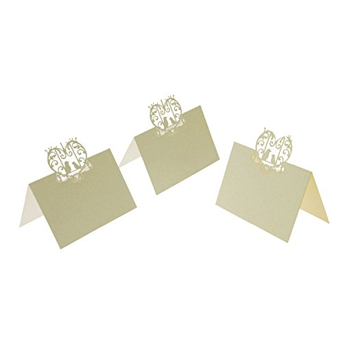 UNIQLED Pack of 60 Laser Cut Perfect Pair Love Birds Paper Wedding Table Numbers Place Card Escort Name Cards for Wedding Party Decoration (Ivory) Love Birds Place Card Holder