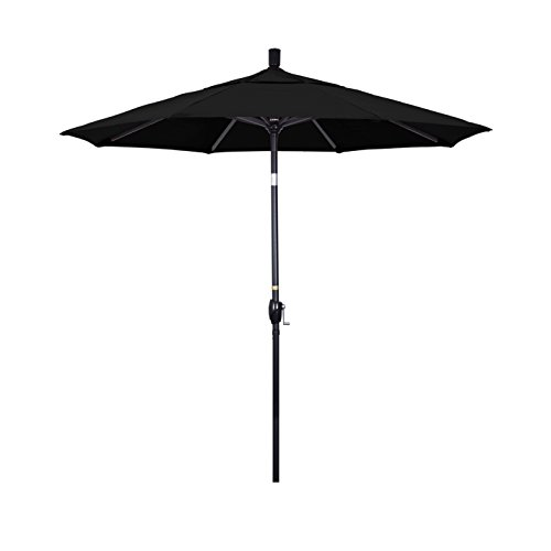 California Umbrella 7.5' Round Aluminum Market Umbrella, Crank Lift, Push Button Tilt, Black Pole, Sunbrella Black 7.5' Crank