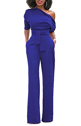 Grace Elbe Women's Off The Shoulder Half Sleeves Jumpsuit Royal Blue XX-Large -
