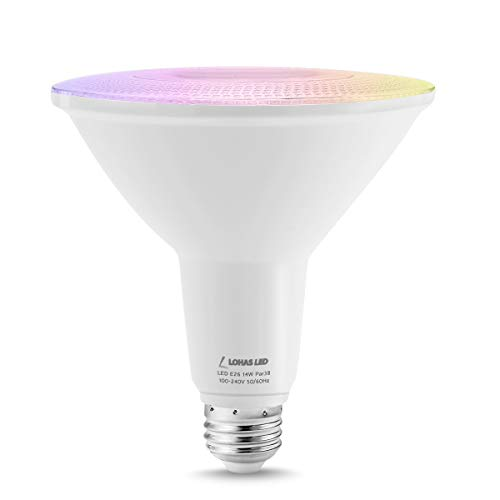 LOHAS LED PAR38 Flood Light, WIFI Smart Spoltlight, 14W E26 Cool White&RGB Bulbs Multicolor Light Base 120 Beam Angle 1200LM, Dimmable with APP, Decorative Lamp Compatible with Alexa Google Assistant