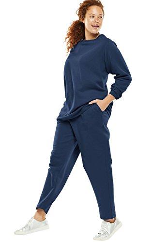 Sweatsuit Navy - Woman Within Plus Size Fleece Sweatsuit - Navy, M