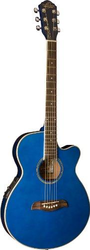 Oscar Schmidt OG8CETBL-A-U Shallow Folk Style Acoustic Electric Guitar. Trans Blue