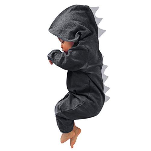 Rakkiss Kids Romper Boys Girls Cute Zipper Outfits Dinosaur Hooded Clothes Jumpsuit -