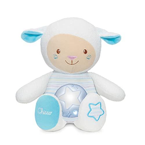Chicco Ovejita Dulces Nanas - Suave peluche de oveja con proyector de luces y melodías, grabadora de voz y sensor de sonido, color azul