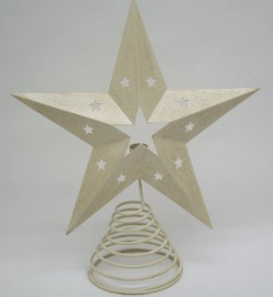 Craft Outlet Tin Star Tree Topper with Light Holder, 13-Inch, Off-White