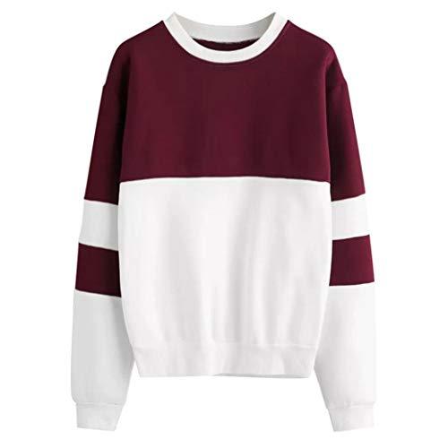 zahuihuiM Womens Sweatshirt, Lady Round Neck  Manches Longues  Capuche Couture Couleur Pull Black Top Blouse, Nouveau Rouge
