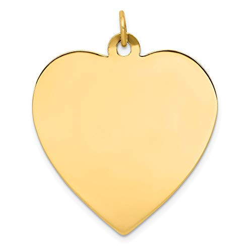 14k Yellow Gold .027 Gauge Engravable Heart Disc Pendant Charm Necklace Simple Shaped Plain Fine Jewelry Gifts For Women For Her