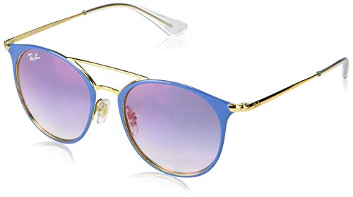 Ray-Ban Junior RJ9545S Round Kids Sunglasses, Light Blue on Gold/Blue Red Gradient Mirror, 47 ()