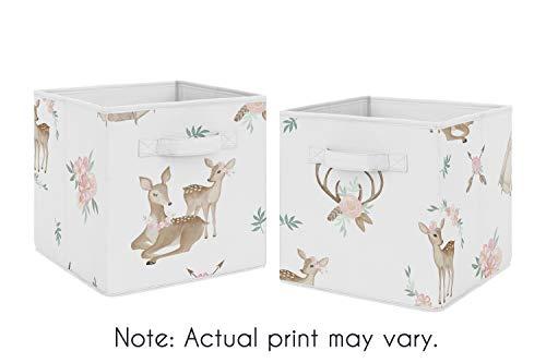 Sweet Jojo Designs Blush Pink, Mint Green and White Boho Organizer Storage Bins for Woodland Deer Floral Collection - Set of 2