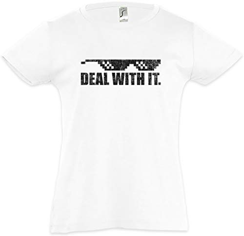 Urban Backwoods Deal with It Kids Girls Children T-Shirt White (Sonnenbrille Hipster)