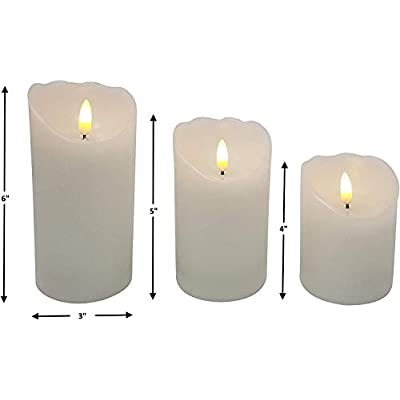 EGI - Set of 3 Flickering Real Wick Flameless Candles with Remote Control and Timer - Realistic Led Candles - Made with Real Wax: Home Improvement