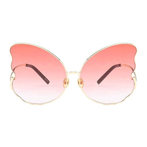 Armear Butterfly Shaped Gradient Sunglasses Oversized 2018 Fashion Design (Red, 60)