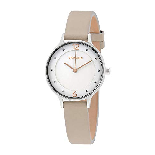 Skagen Women's Anita Quartz Stainless Steel and Leather Casual Watch, Color: Silver-Tone, Beige (Model: SKW2648)