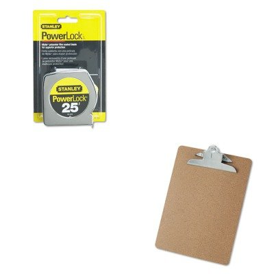 KITBOS33425UNV40304 - Value Kit - Powerlock II Power Return Rule, 1quot; x 25 ft., Chrome/Yellow (BOS33425) and Universal 40304 Letter Size Clipboards ()