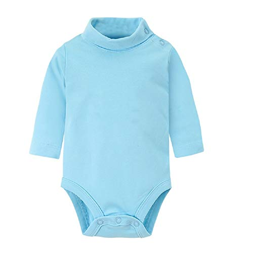 Hooyi Baby Boy Girl Clothes Cotton Pure Solid Newborn Bodysuits Turtleneck Premature Clothing Shirts Tops (Blue, 18 Month) -