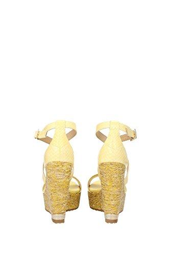 161120PORTIABUTTERCUP Jimmy Choo Cuñas Mujer Piel de Serpiente Amarillo Amarillo