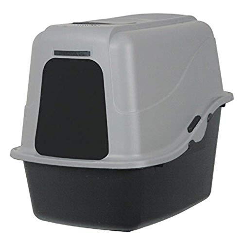 (Petmate Hooded Litter Pan Set Large, Black/Gray)