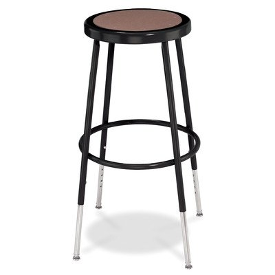 NPS 6224H 24'' Adjustable Height Steel Stool, Black by National Public Seating