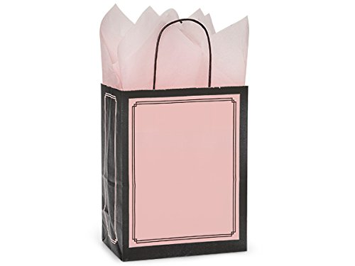 Pack Of 25, Cub 8 x 4.75 x 10.25'' Solid Pink & Black Duets Shopping Bag Made In USA