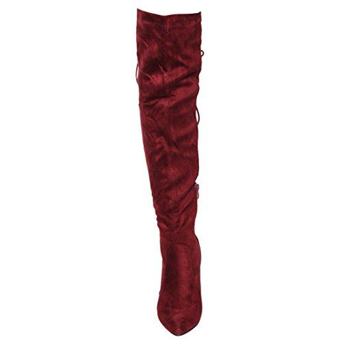 Beston FM30 Frauen Lace Up Side Zipper Overknee High Stiefel halbe Größe klein Wein