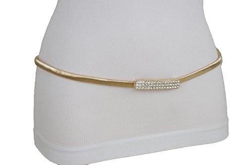 TFJ Women Fashion Gold Metal Elastic Belt Hip