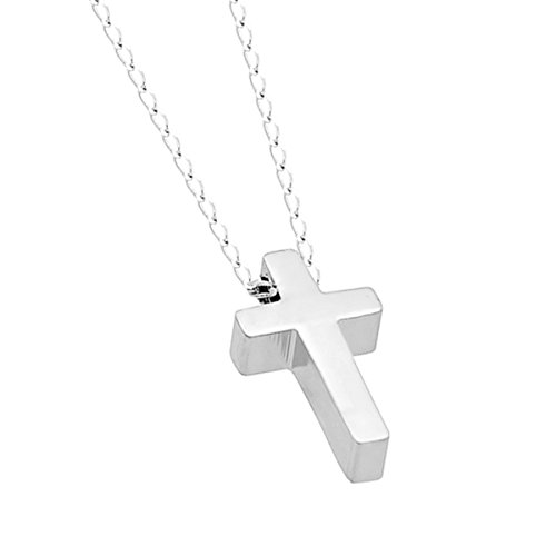 Mother Day Gift 925 Sterling Silver Tiny Cross Necklace Silver Small Christian Necklace 15inch + 2 Extension w Lobster Clasp Dainty Necklace Tiny Cross Charm, Gift For Her (Modern Cross)