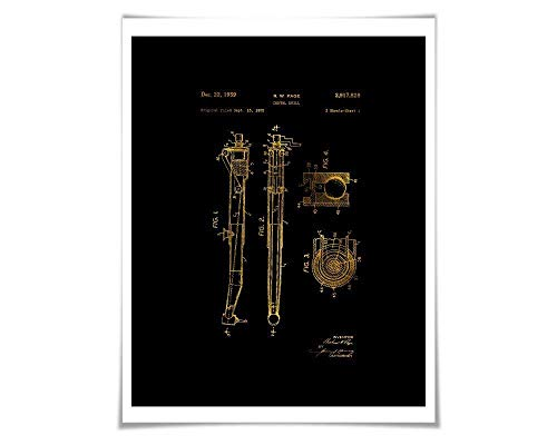 Dental Drill Gold Foil Patent Illustration. 36 Colours. Dentist Office Art. Vintage Dental Art Print