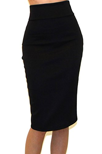 Vivicastle Women's High Waist Band Bodycon Career Office Midi Pencil Skirt (Large, SLD BLK)