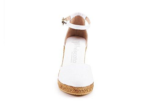 cinturino 62 eleganti caviglia Estartit Viscata White in Spagna tela punta made Espadrillas in nbsp;cm chiusa 7 comode tacco alla FYF8EOx