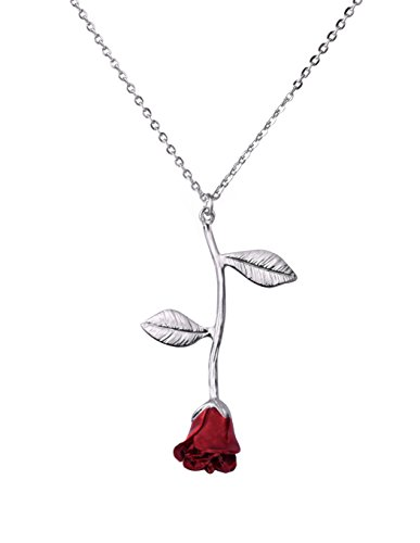VIVIove Gold Danity Rose Pendant Floral Necklace for Women Gold Plated Birthday Valentines Gifts