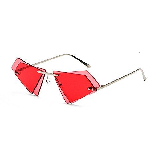 Unique personality irregular double-layer triangle frameless retro trend unisex sunglasses ()