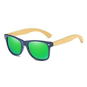 Sunglasses Square Bamboo Polarized Mirror Sun Glasses