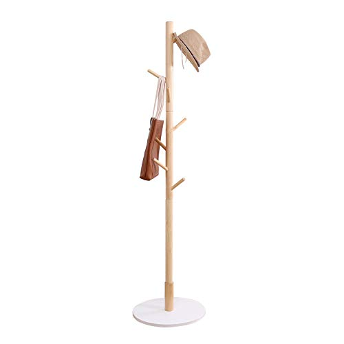 - Garwarm Wood Coat Rack Free Standing, Tree Coat Rack Stand with 8 Hooks Wood for Coats, Hats, Scarves, Clothes, and Handbags - Natural