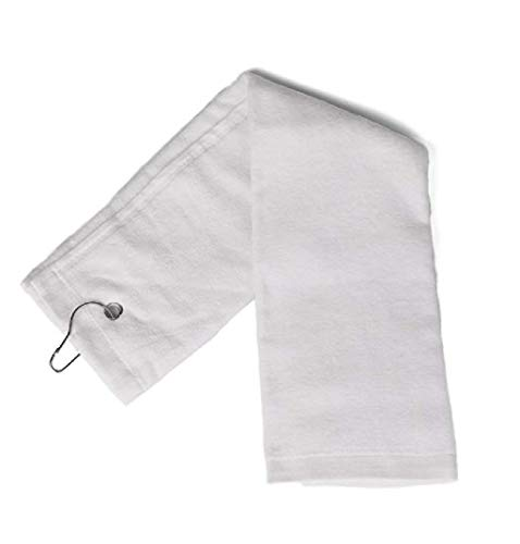 ((Set Of 3) Eco Online Market Terry Velour Tri-Fold Golf Towel with Metal Clip Cotton Terry-Cloth Hang on Golf, Size 16 x 25 Inches (White, 3) )