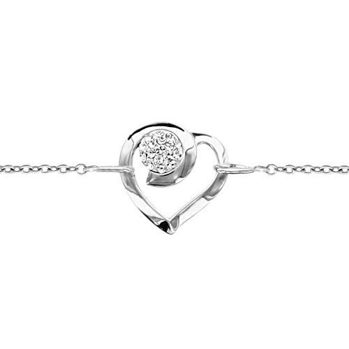 So Chic Bijoux © Bracelet Femme & Enfant Longueur Réglable: 16 à 19 cm Chaîne Coeur Boule Sphère Strass Blanc Argent 925