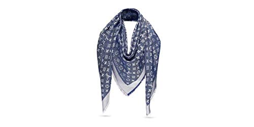 Designer Silk Scarf LV Monogram Logo Print Shawl in Denim Blue Women's Luxurious Pashmina Summer Fashion Accessory Wrap for Travel Trendy Lightweight Stole that Duals as Elegant Head Scarf Large 69X73
