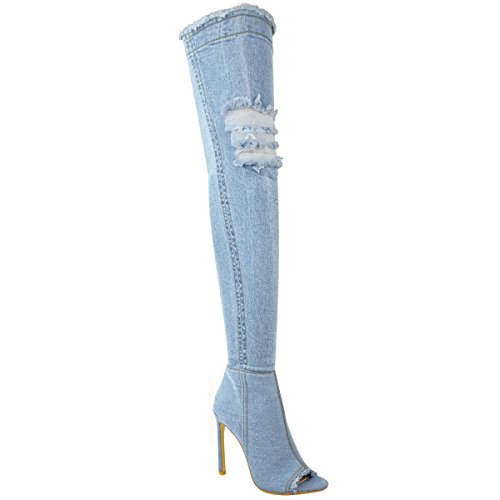 Fashion Thirsty Womens Over The Knee Boots Thigh High Heels Stilettos Stretch Denim Size 10