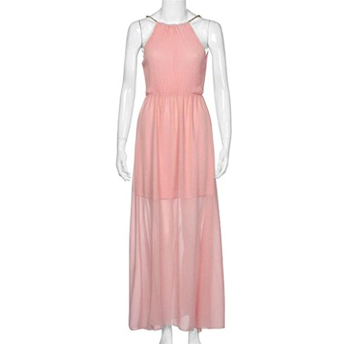 dba992397ff ... Amcool Damen Elegant Ärmellos Neckholder Abendkleider Cocktailkleid  Brautjungfer Maxikleid Lang Chiffon Party Kleid Pink k0HEJ ...
