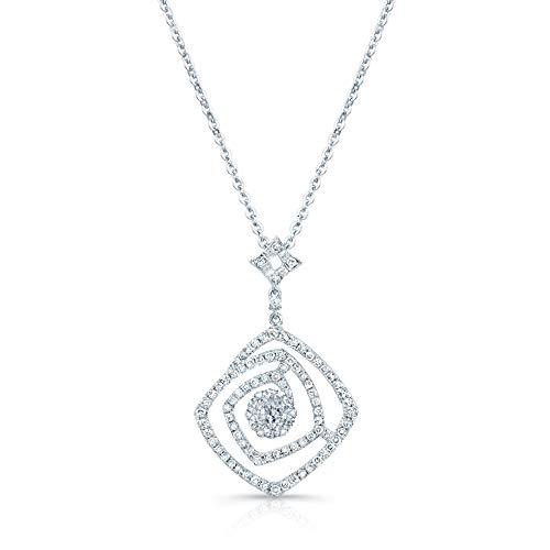 14K White Gold Round Cut Diamond (0.65 ct. t.w) Geometric Pendant Necklace ()