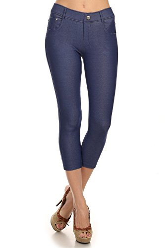 (Yelete Women's Classic Solid Capri Jeggings (Denim Blue, Large))