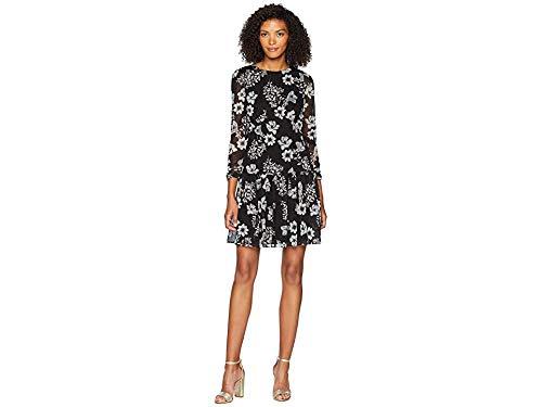 (ML Monique Lhuillier Women's Drop Waist Printed Chiffon Dress, Jet Multi, 2)