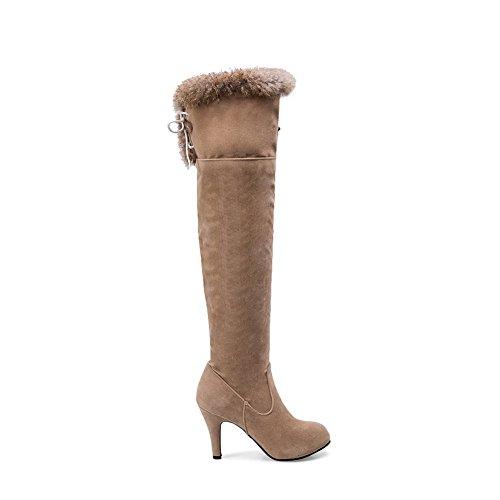 AllhqFashion Damen Hoher Absatz Rein Knöchel Hohe Stiefel mit Metallisch, Aprikosen Farbe, 38