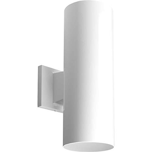 Brass Porcelain Sconce (Progress Lighting P5675-30 5-Inch Up/Down Cylinder with Heavy Duty Aluminum Construction and Die Cast Wall Bracket Powder Coated Finish UL Listed for Wet Locations, White)