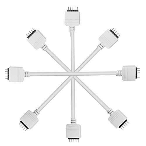Kabenjee Super Handy SMD5050 RGBW LED Strip Light 5pin Extension Cable,4X Solderless Extension Cable Connector for Osram LED Strip Ribbon-30cm/12inch,RGBWW 5 pin Corner Connector(4pcs/Pack)