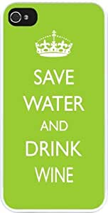 Rikki KnightTM Save Water and Drink Wine Lime Green Design iPhone 5 & 5s Case Cover (White Rubber with bumper protection) for Apple iPhone 5 & 5s