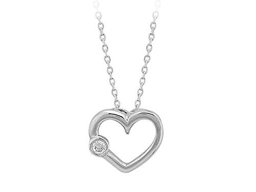 Collier Coeur Diamant-Femme- or Blanc 207P0002