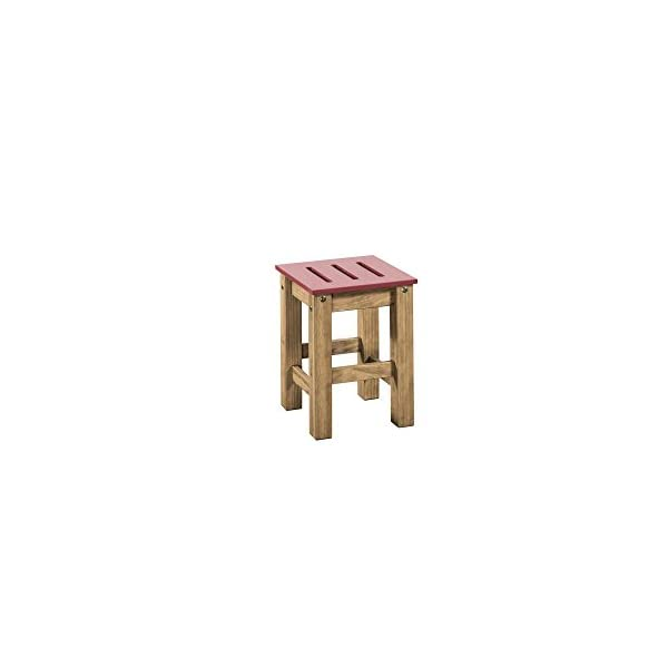 Manhattan Comfort Stillwell Modern Rustic Pine Wood Rectangle Dining Table and Chair Set, Red