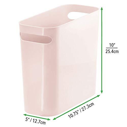 mDesign Slim Plastic Rectangular Small Trash Can Wastebasket, Garbage Container Bin with Handles for Bathroom, Kitchen, Home Office, Dorm, Kids Room - 10 High, Shatter-Resistant - Light Pink/Blush