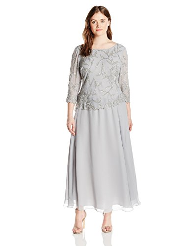 J Kara Women's Plus Size Long Scoop Neck Dress with 3/4 Sleeve Beaded Top, Silver/Multi, 16W